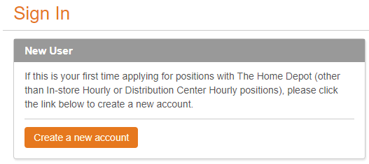 Home Depot career Sign-in